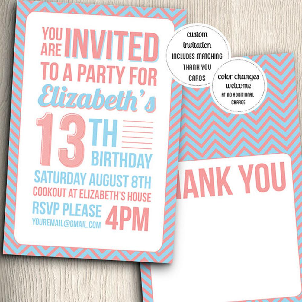 13th Teen Birthday Invitations Thank You Cards Templates