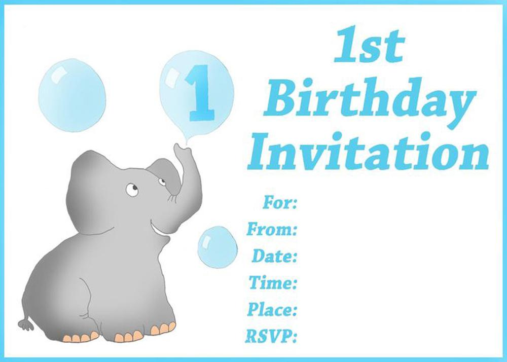 1st Birthday Invitations Free Printable Elephant One Baloons