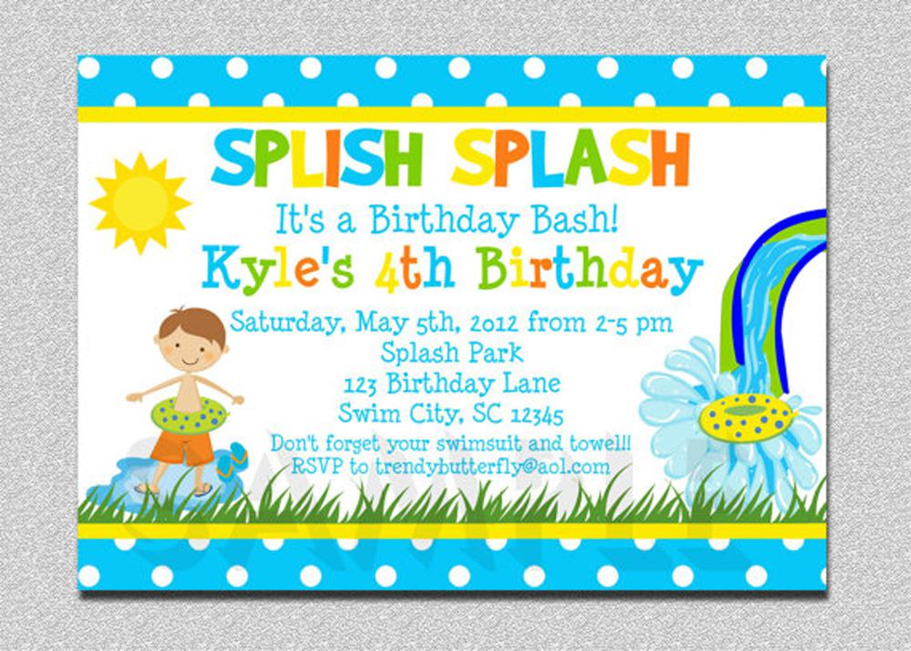 4th swiming pool birthday invitations wording for kids