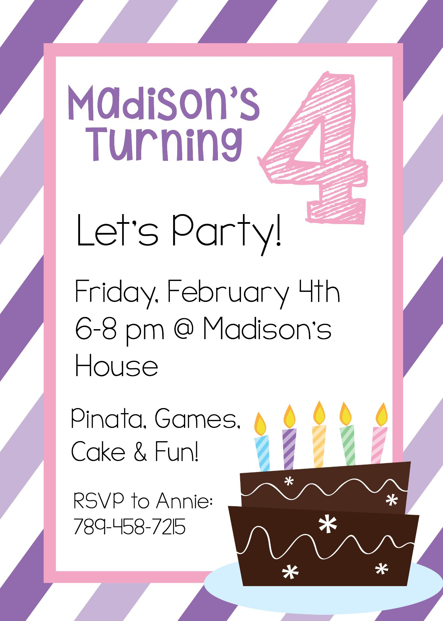 4th Teen Birthday Invitations Templates