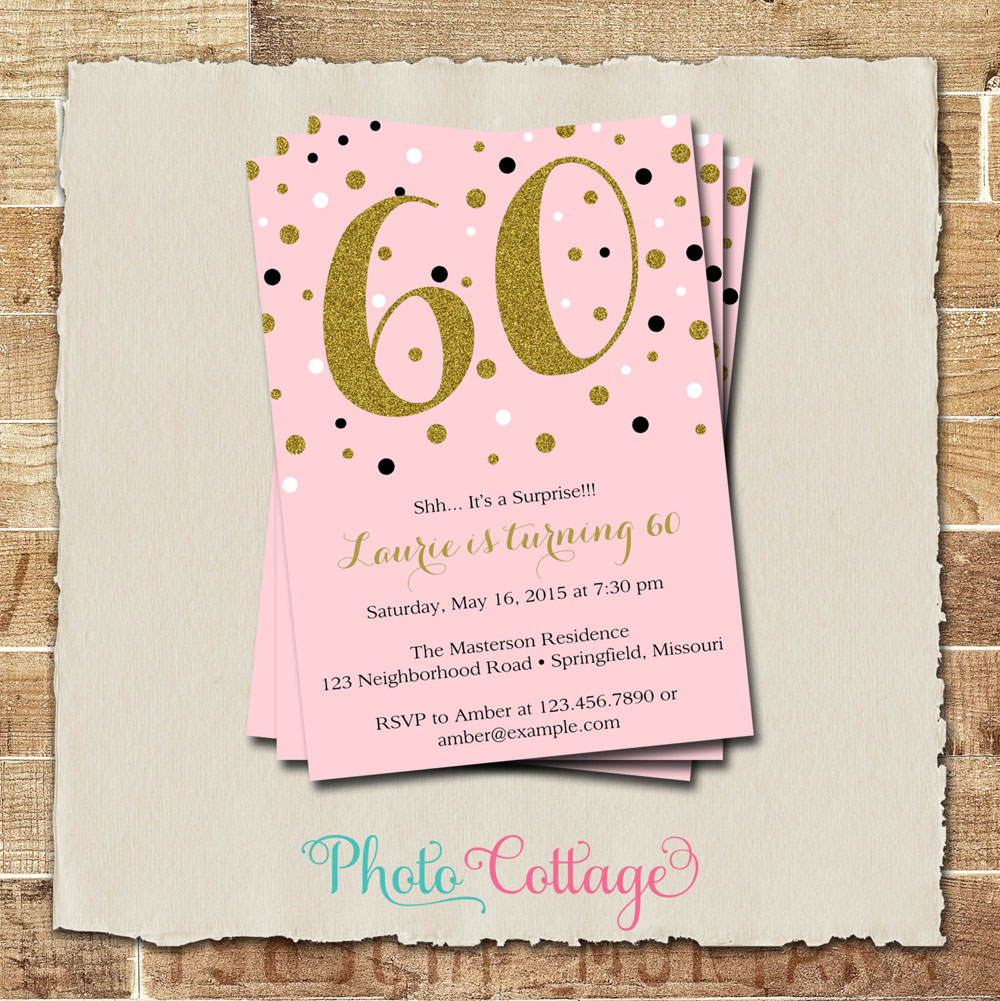 60th Birthday Invitations With Gold Glitter