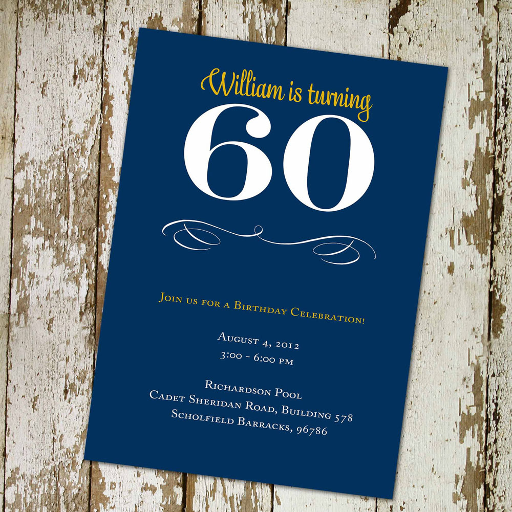 60th Birthday Party Invitations Wording Blue Color