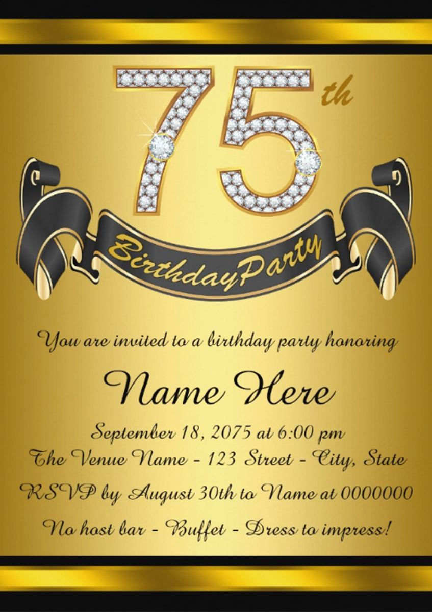 75th Birthday Invitation Sample Wording Templates