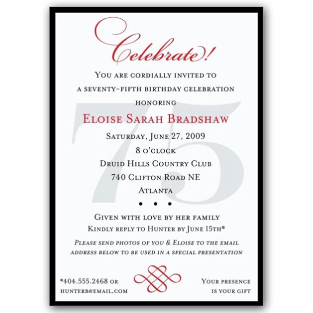 75th Birthday Invitations Classic Wording Templates