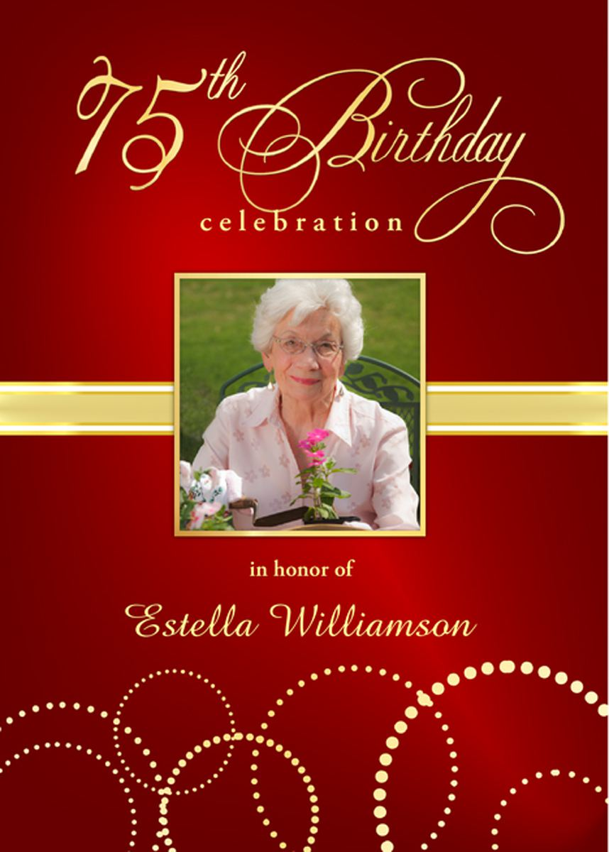 75th Birthday Invitations Printable Sample