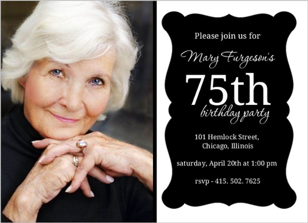 75th Birthday Invitations Templates
