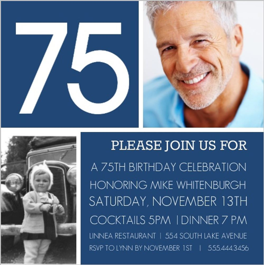 75th Birthday Invitations Wording Navy Theme With Photo