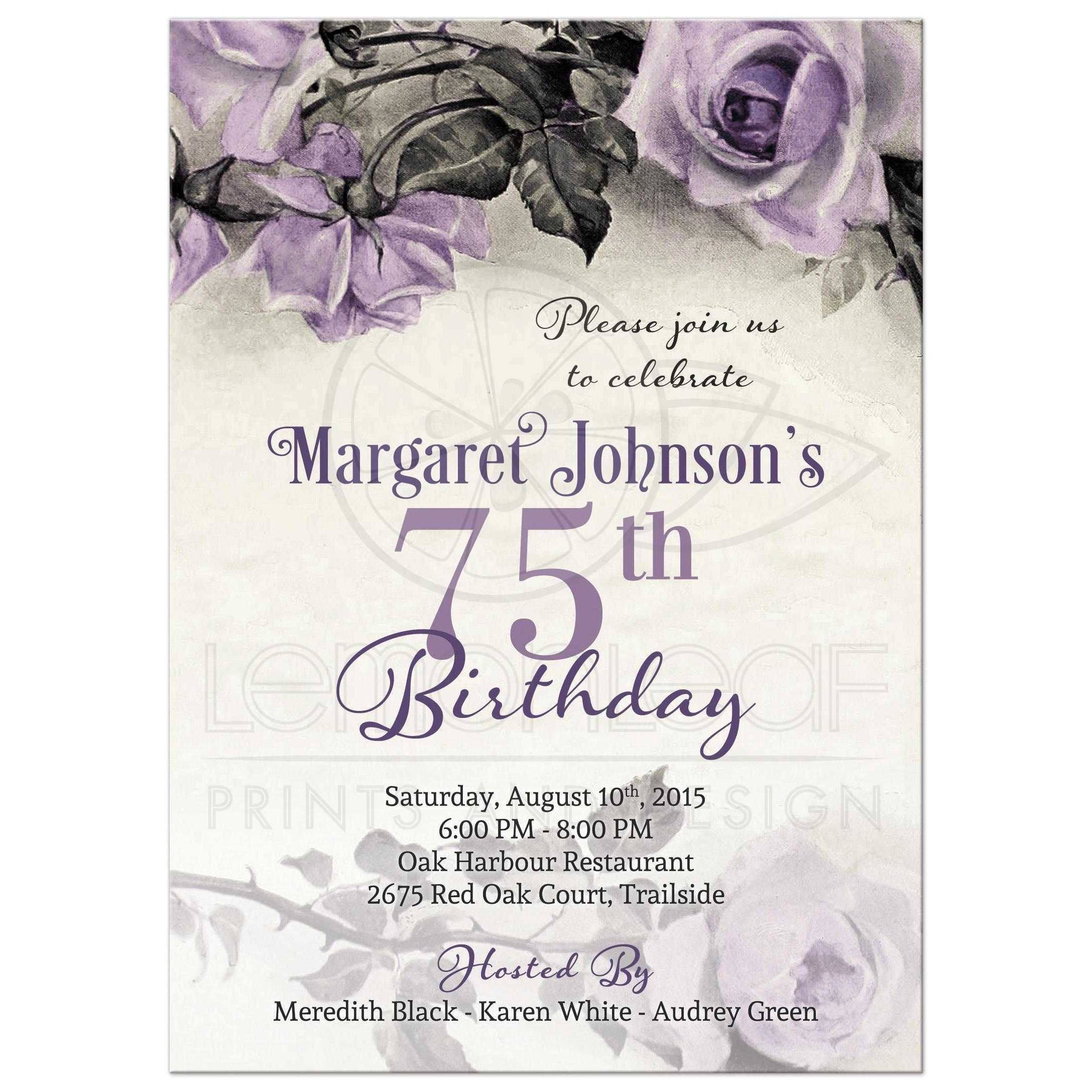 75th Birthday Invitations Wording Rectangle And Navy Theme