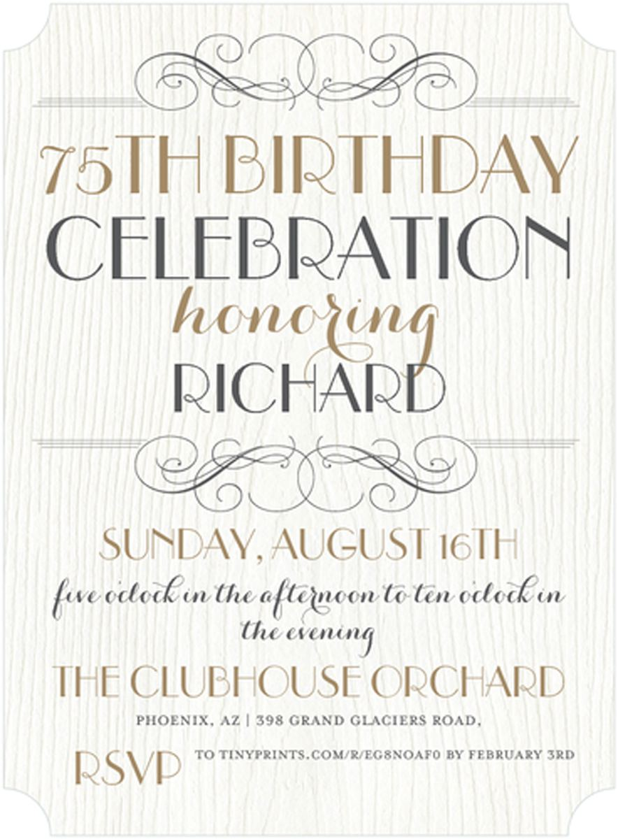 75th Birthday Party Celebration Invitations Templates