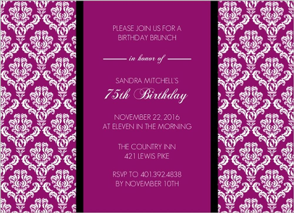 75th Birthday Wording Invitations Templates Purple Theme