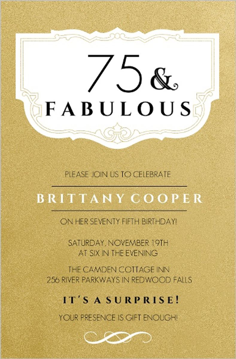 75th Fabulos Birthday Invitations