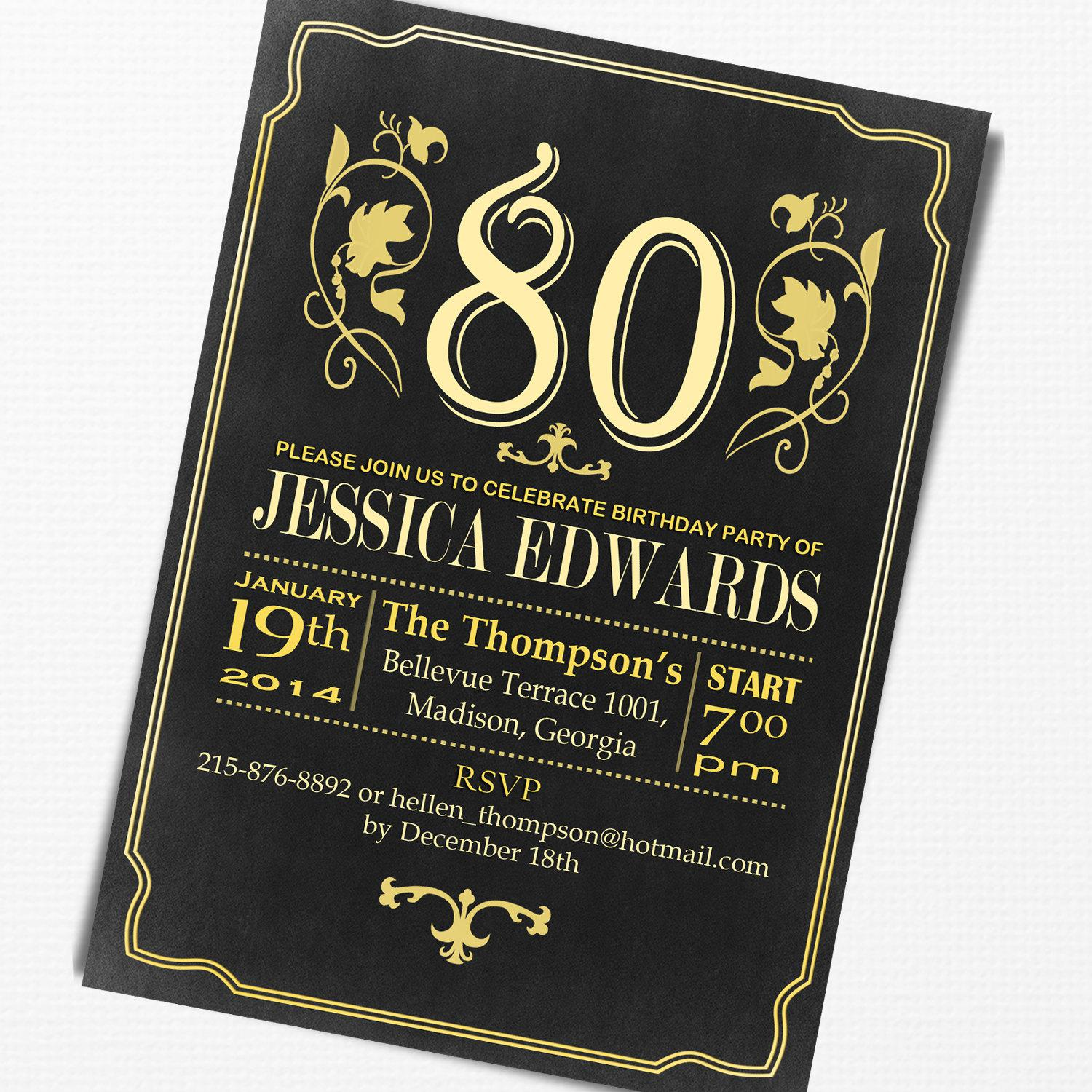 80th Birthday Invitation Free Sample Cards For Elegant Party