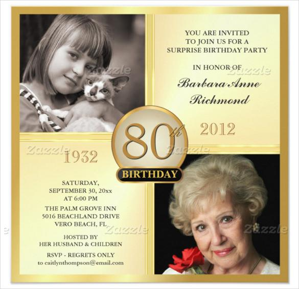 80th Birthday Invitations Gold Templates With Customizable Two Photos