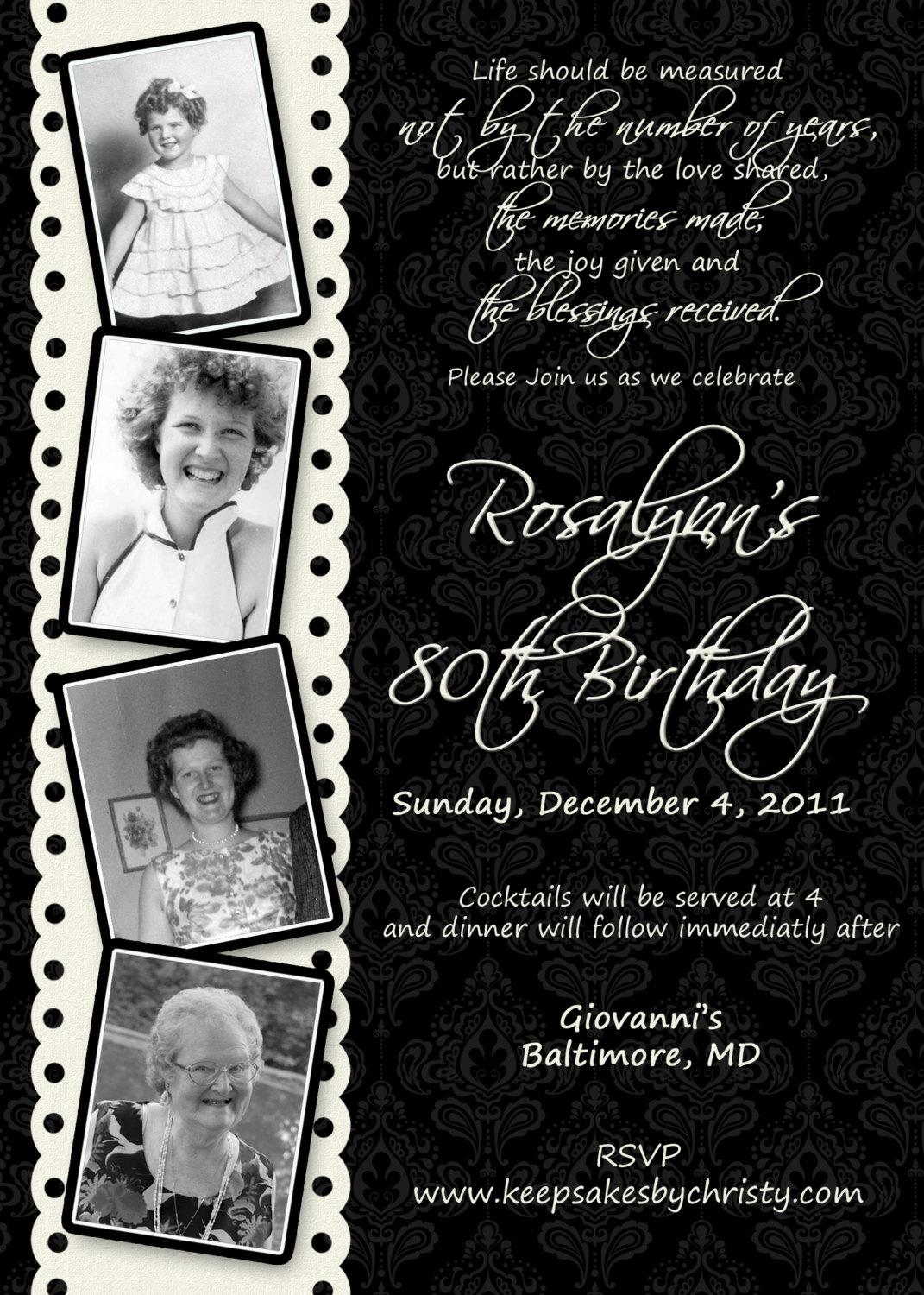 80th Birthday Invitations Wording Templates For Women