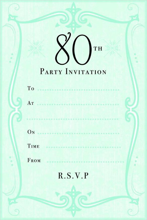 80th Birthday Party Invitation Cards Templates