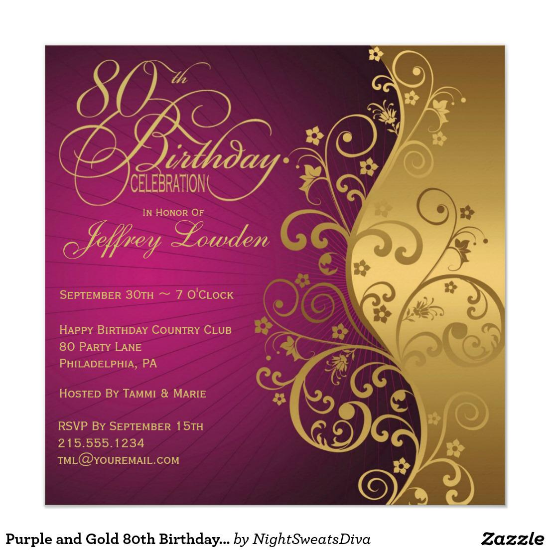 80th Birthday Party Invitations Purple And Gold Invitation Luxury Cards Celebrations Womens Samples