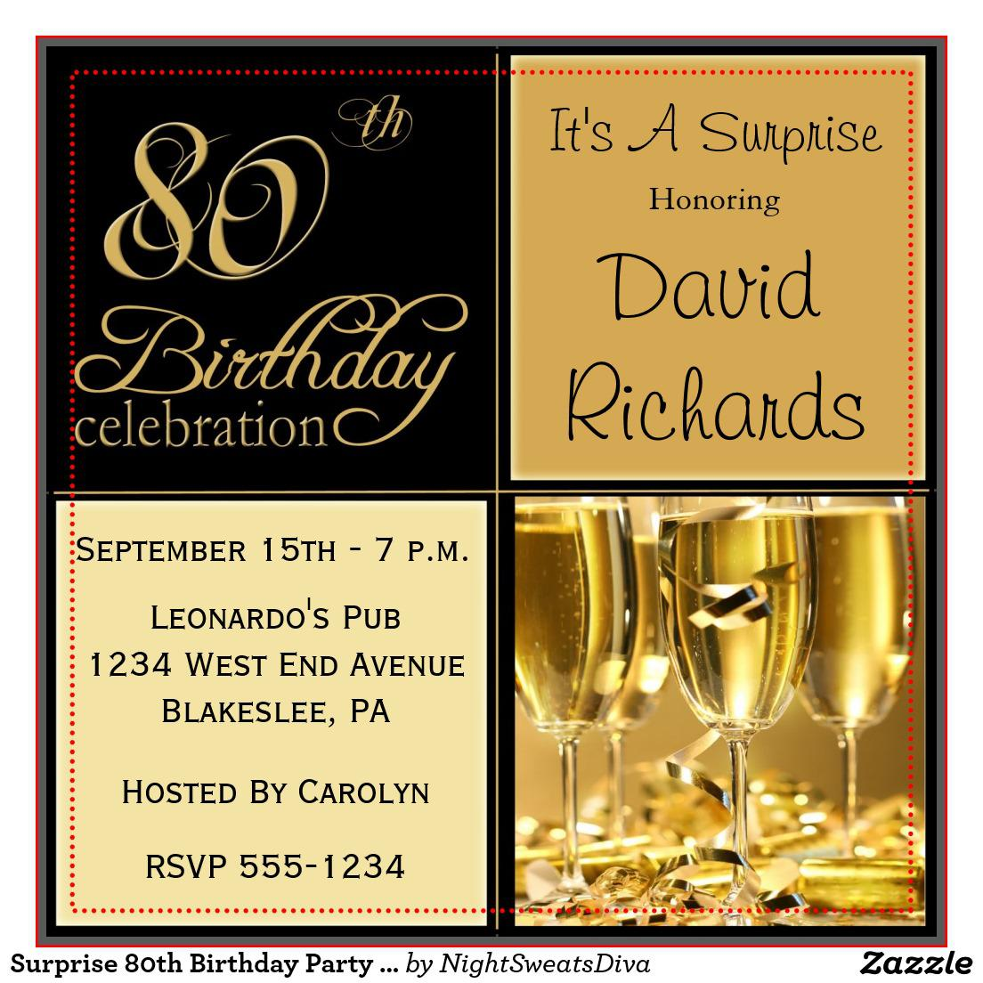 80th Birthday Party Invitations Surprise Glamours Man And Women Celebration Invite Parties