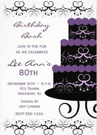 80th Birthday Party Invitations White And Purple Cake Color Templates