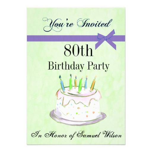 80th Birthday Partypersonalized Invitation Cake Cards Templates