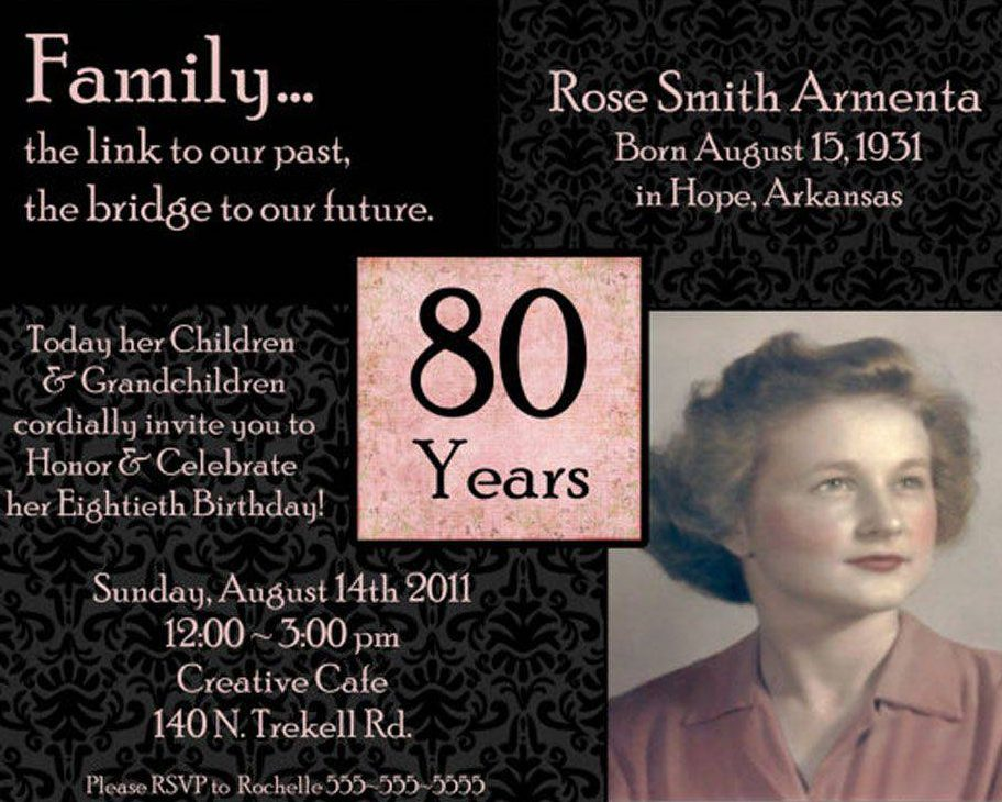 10 Sample Images 80th Birthday Party Invitations Templates