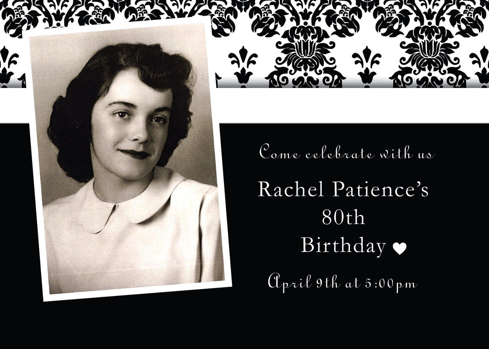 80th Birthday Party Invitations Black And White With Photo