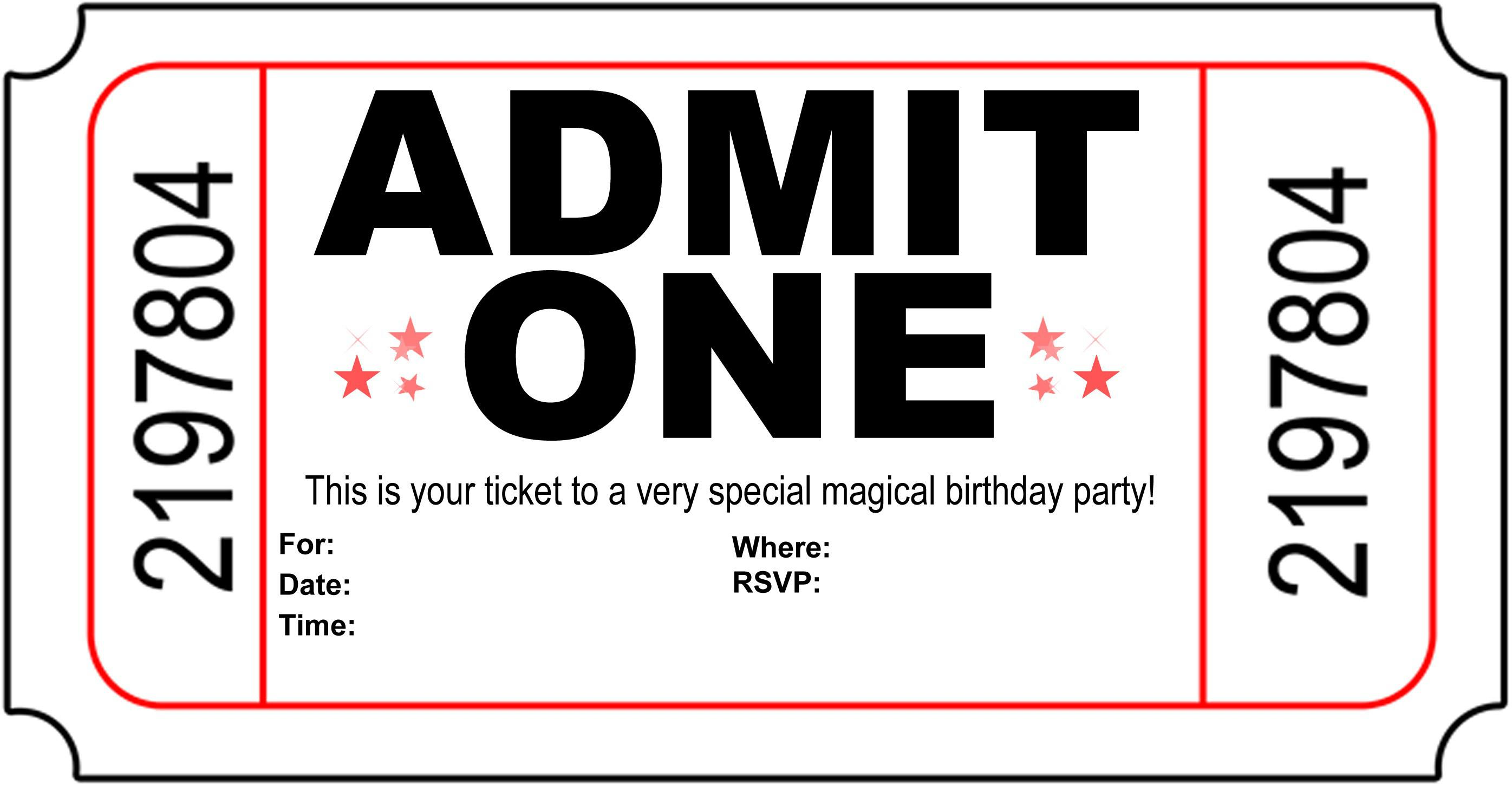 Admit One Teen Birthday Invites Templates