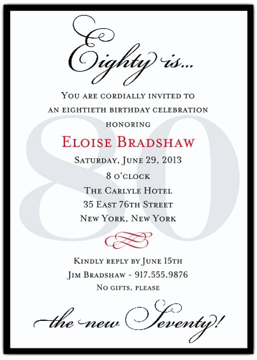 Awesome 80 Years Birthday Party Invitations Templates