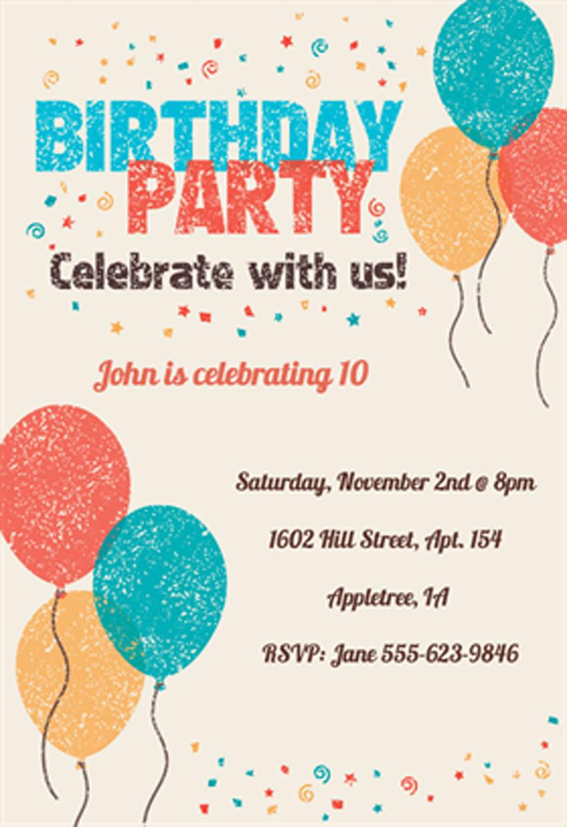 Baloons Birthday Invitations For Kids Celebration