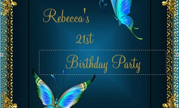 Butterfly 21st Cheap Birthday Party Invitations Blue Teal Card