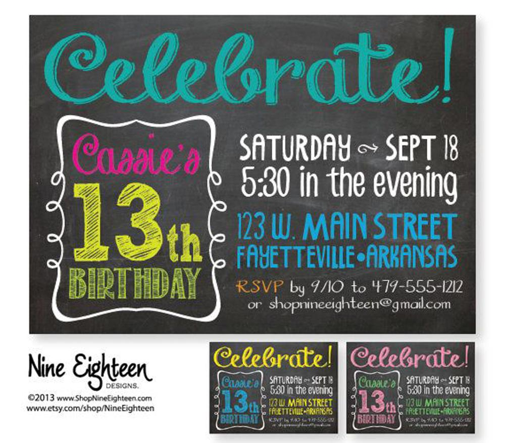 Celebrate Teen Birthday Invitations