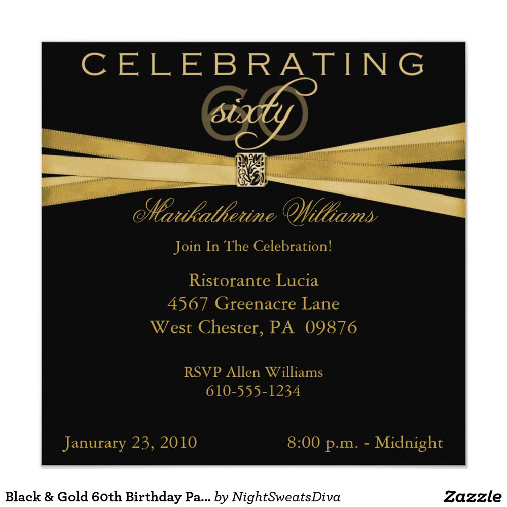 Celebrating Gold 60th Birthday Party Invitations With Gold Theme