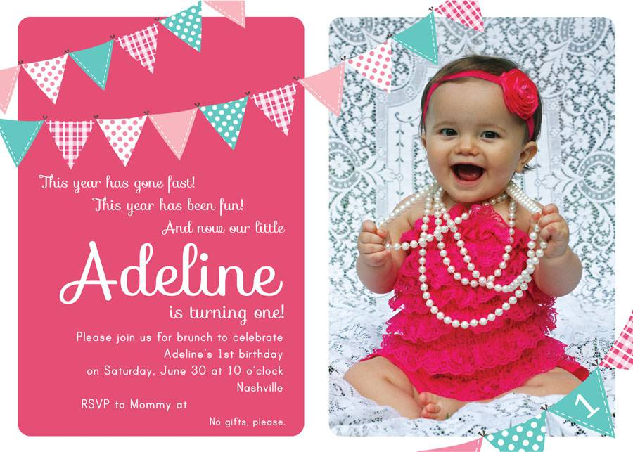 Cheap Birthday Invitations Pink Color Baby Girls Templates