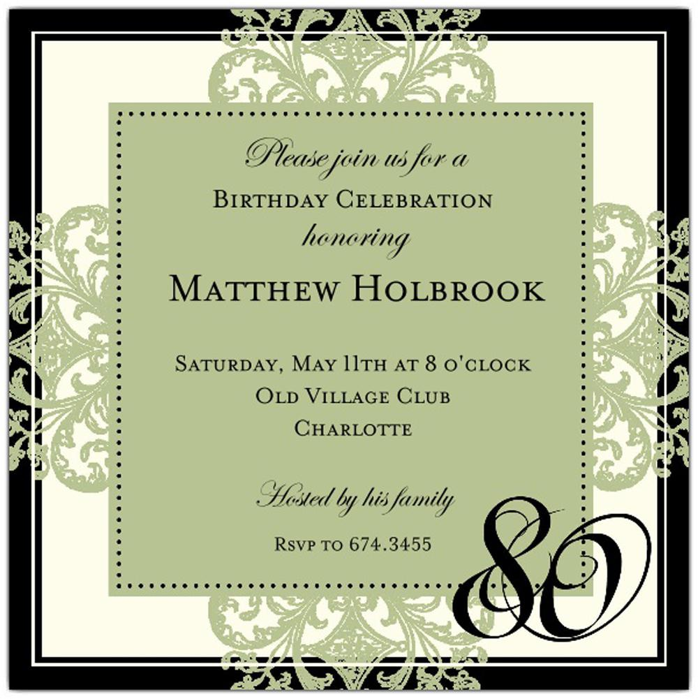 Custom 80th Birthday Invitations Wording