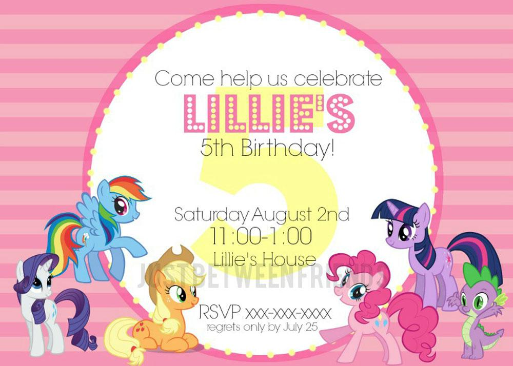 Custom My Litle Pony Birthday Invitations Templates