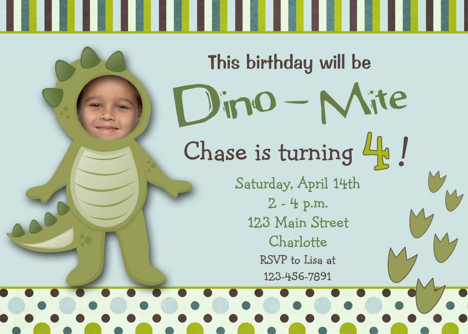Dinosaur Birthday Invitations For 4th Kids Birthday Party