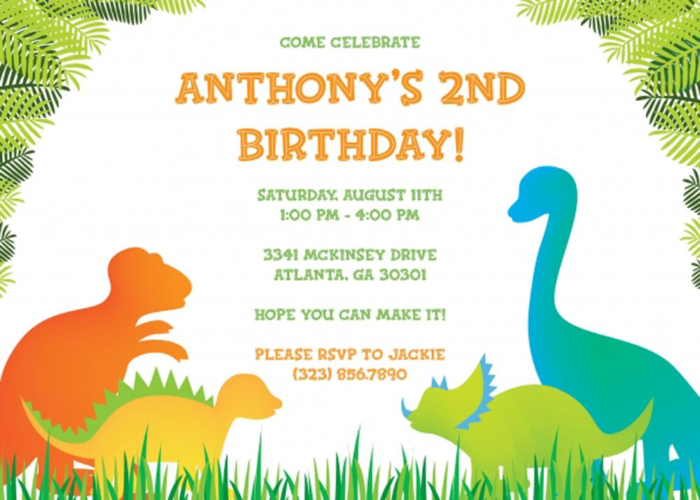 Dinosaur Birthday Invitations Templates