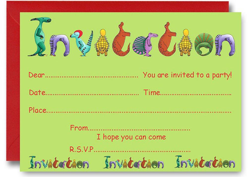Dinosaur Birthday Party Invitations Printable Templates