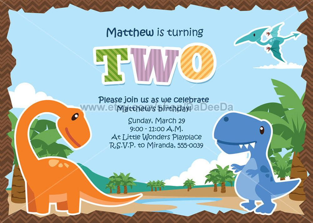 Dinosaur Bithday Invitations With Awesome Theme Beach