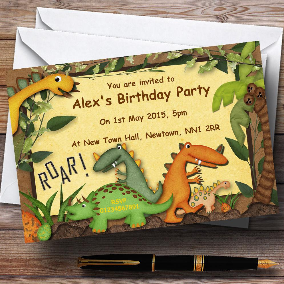 Dinosaur Jungle Personalised Birthday Party Invitations