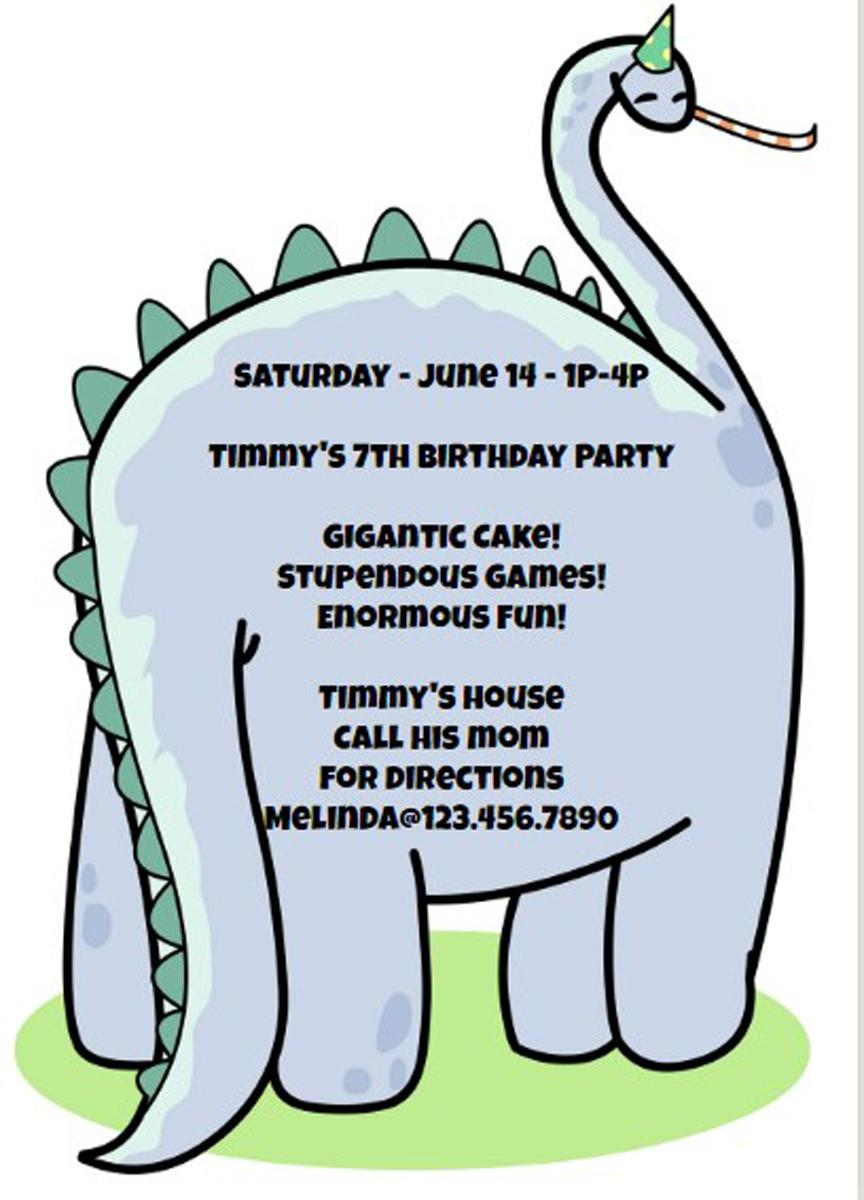 Dinosaur - Printable Birthday Invitation Template