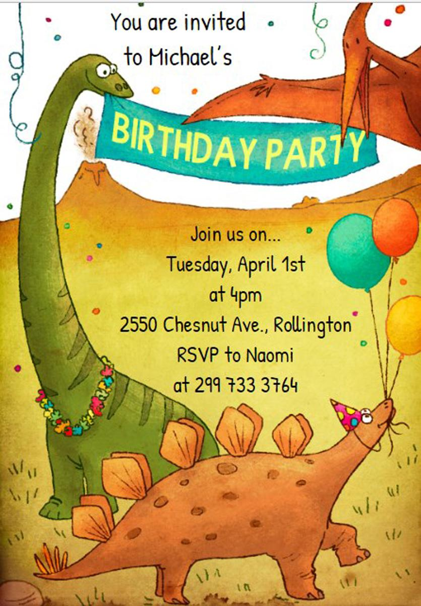 Dinosaurus Birthday Party Invitations For Kids