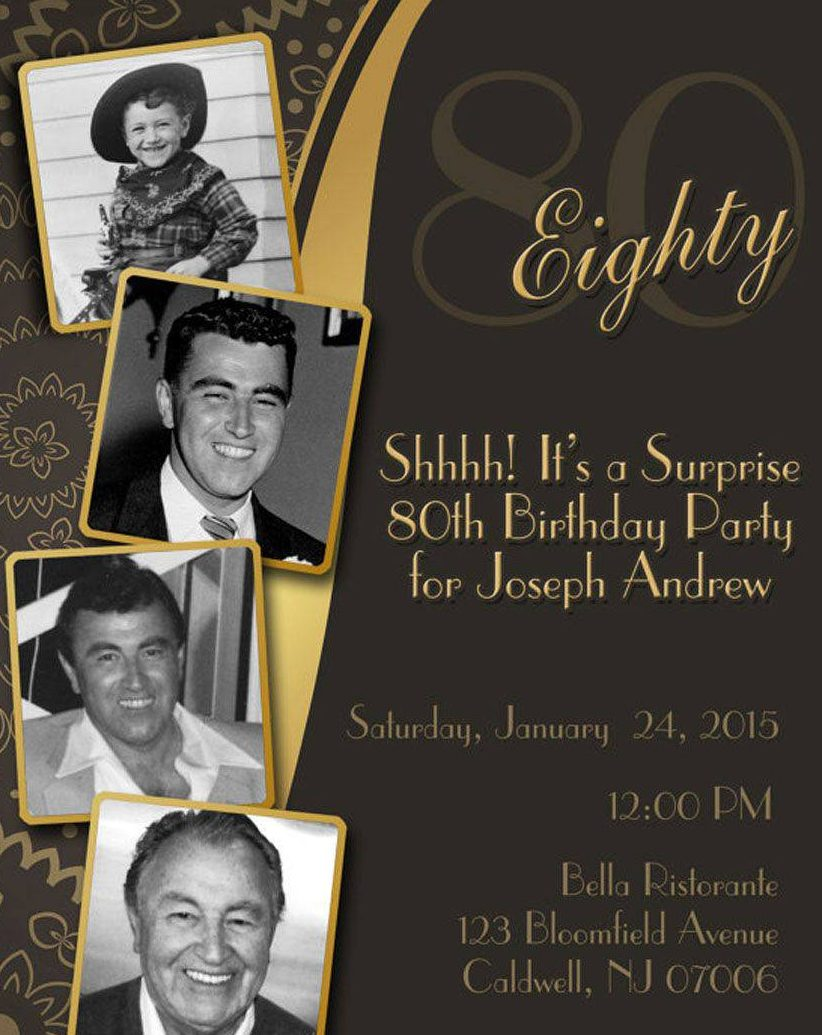 Diy Print Birthday Invites Adult 80th Invitation Surprise Party Retro