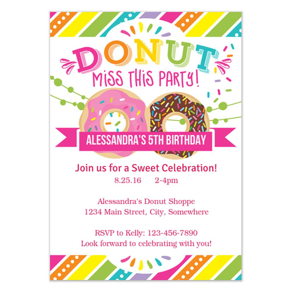 ... Donuts Birthday Invitations For Kids + Free Templates  Invitation Birthday Template