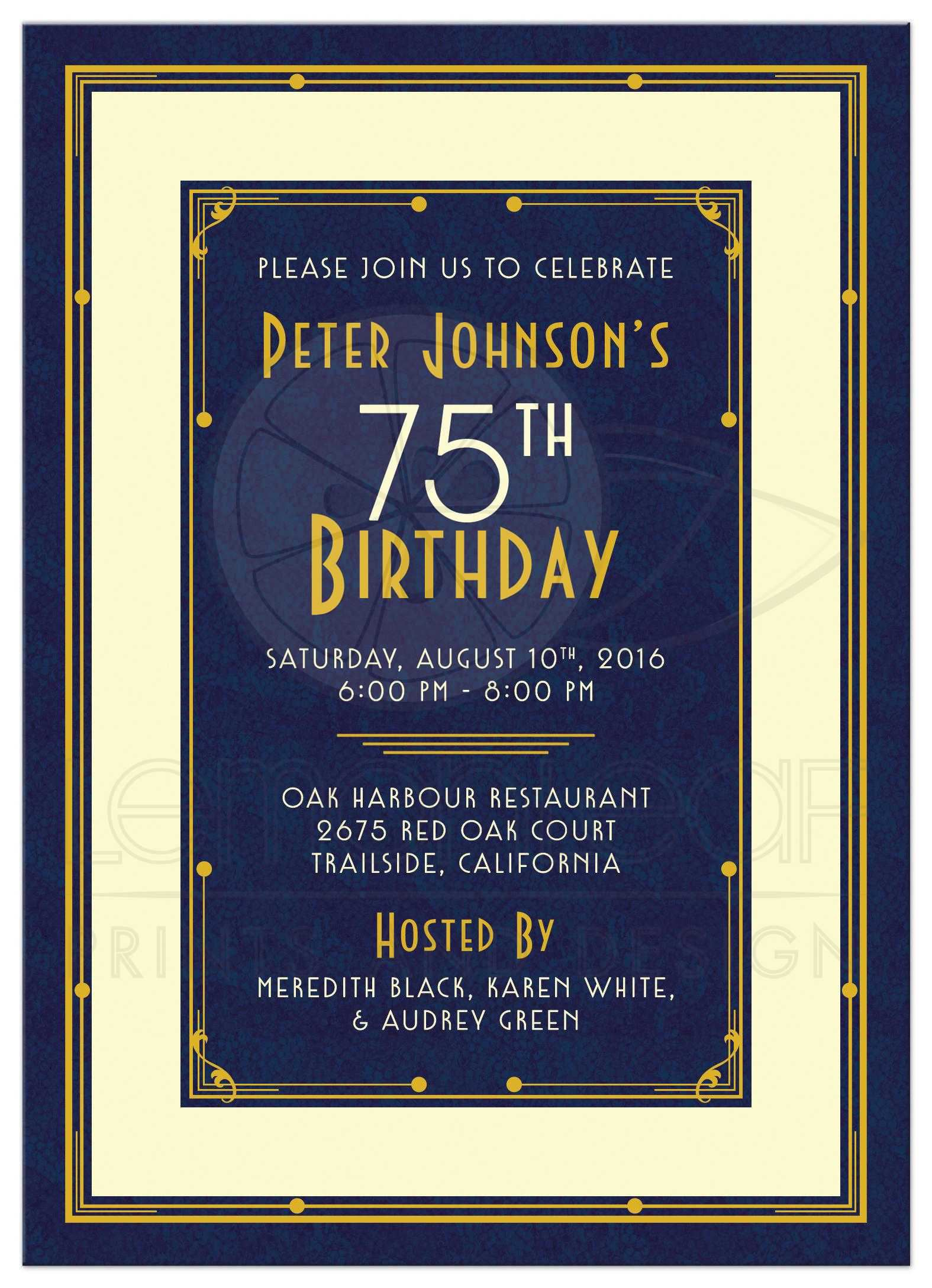 Elegant 75th Birthday Invitations Wording