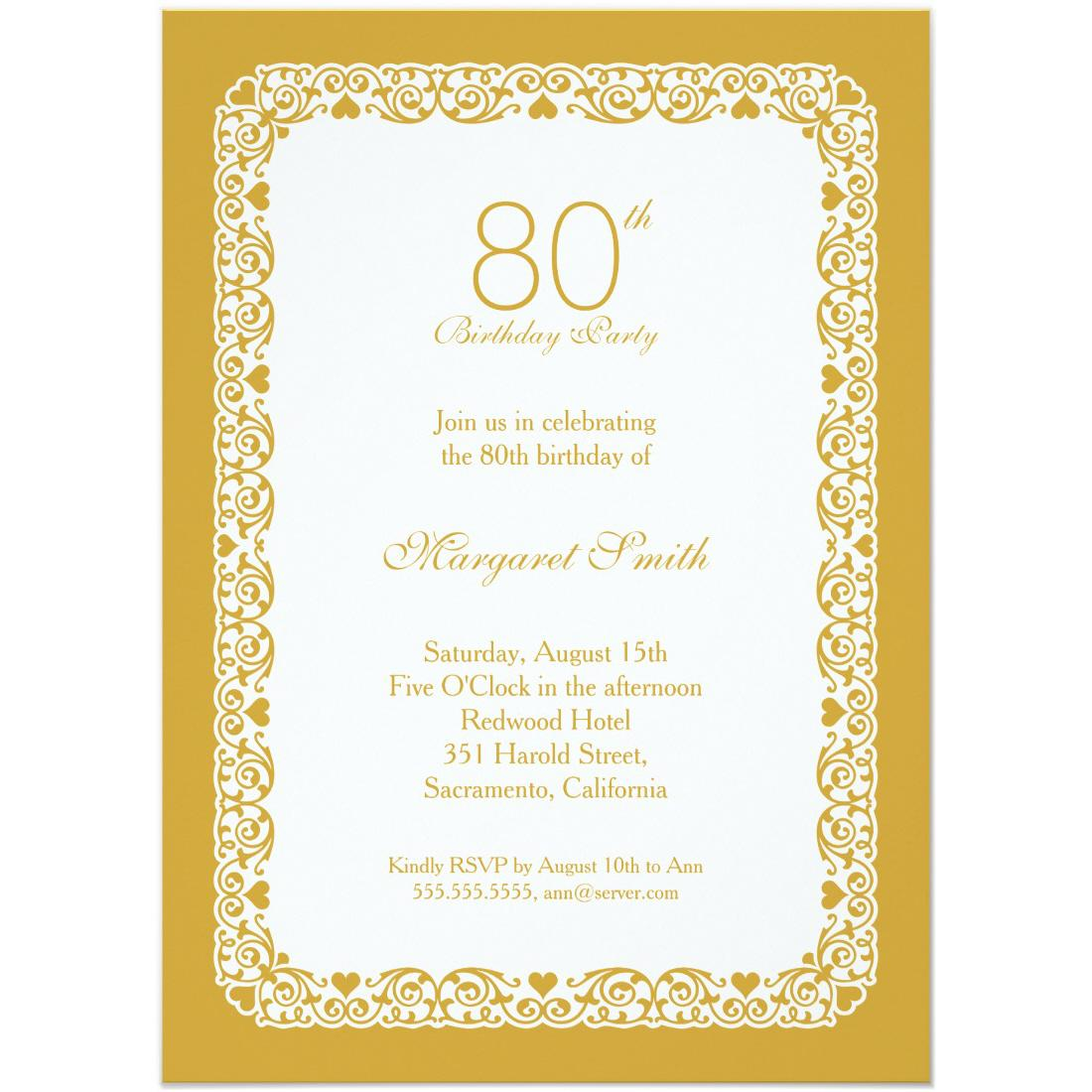 Elegant 80th Birthday Party Invitations Lace For Own Custom Party Birthday Invitations