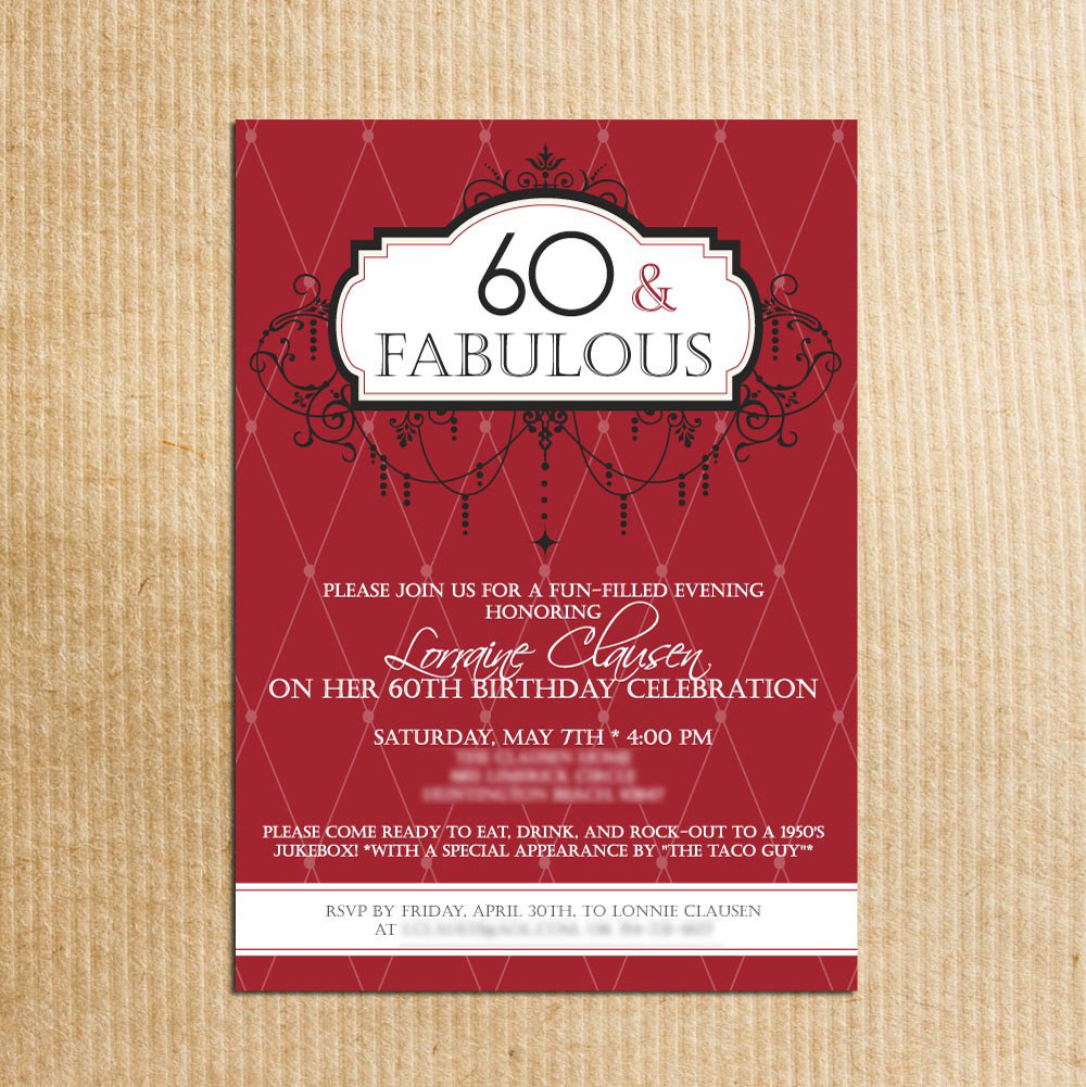 Fabulous Celebration 60th Birthday Party Invitations Card Sample  Birthday Invitation Samples