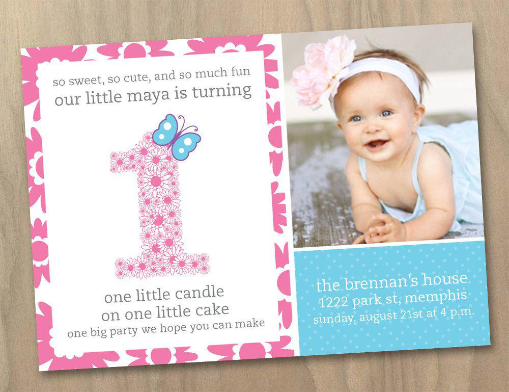 First Birthday Invitation One Designs For Baby Girls Birthday Invites Inspire