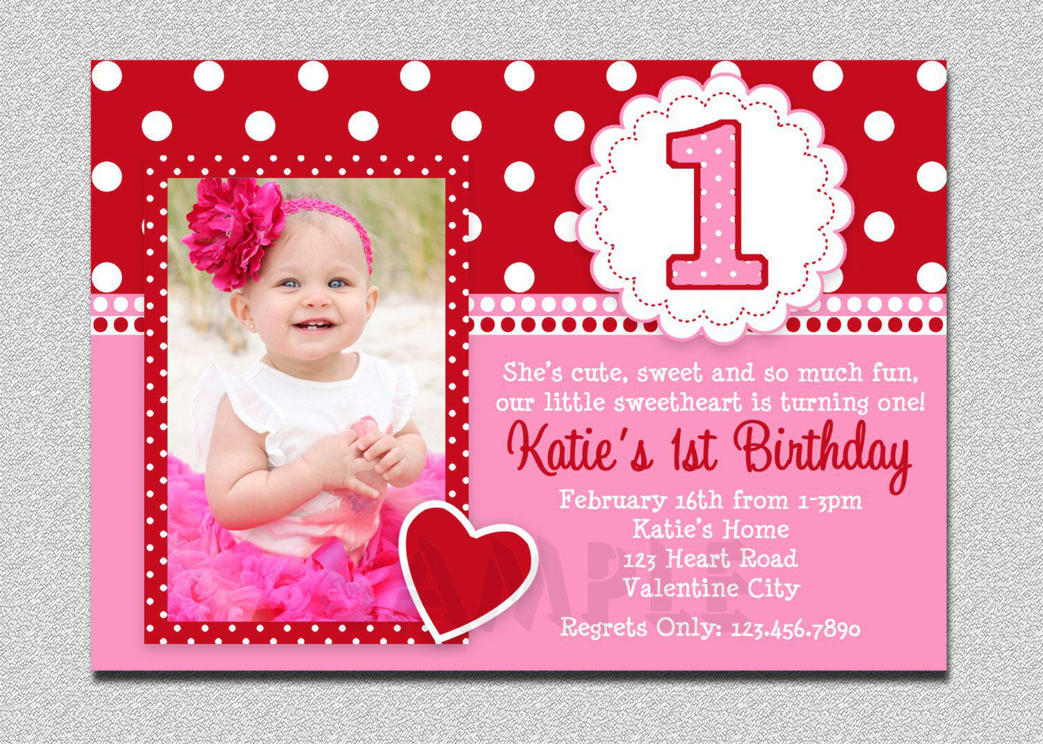 First Birthday Invitations Girls Valentine Pink Themes With Love