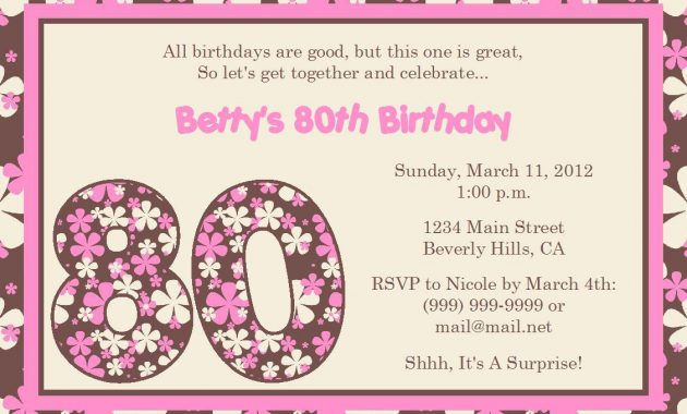Free 80th Birthday Invitations Templates Theme for Your Birthday