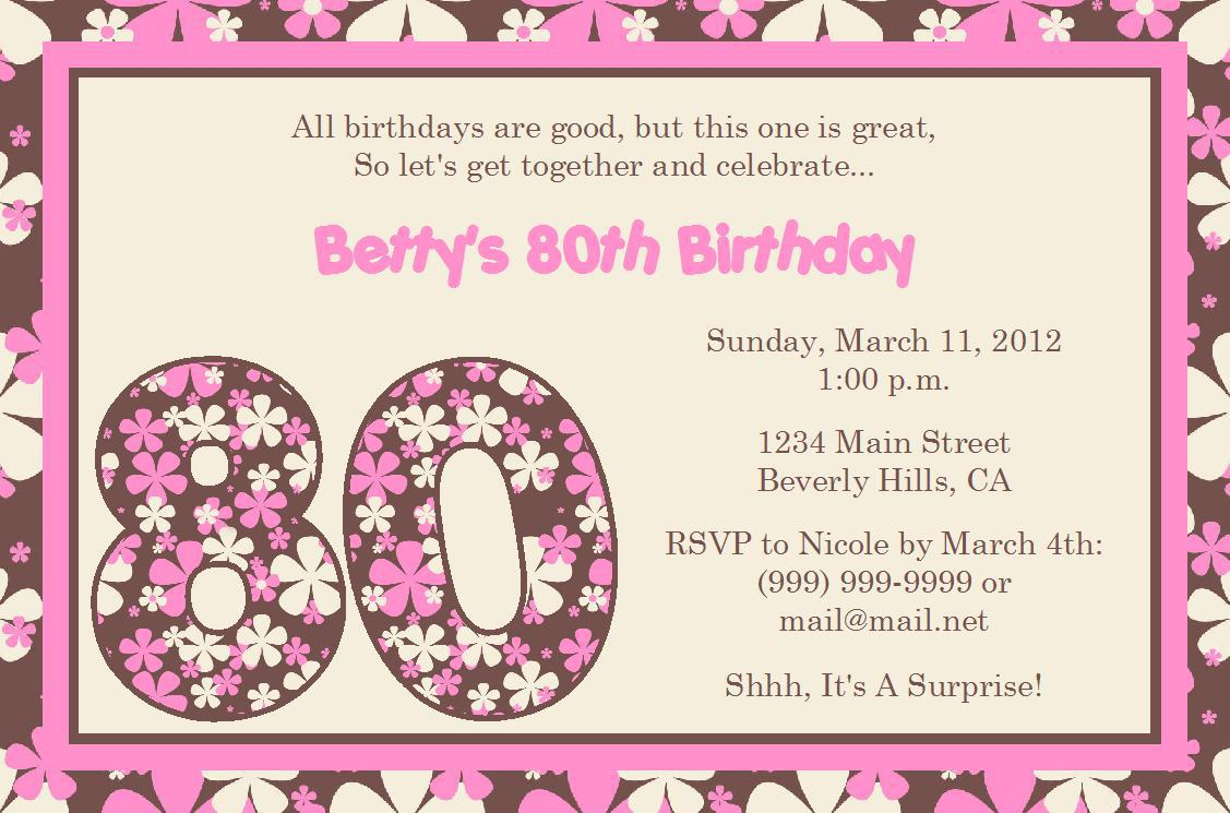 Free 80th Birthday Invitations Templates Theme For Your Birthday  Free Birthday Template Invitations